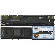 Navalha K25 com Lanterna e Fire Steel Preta (serrilha)